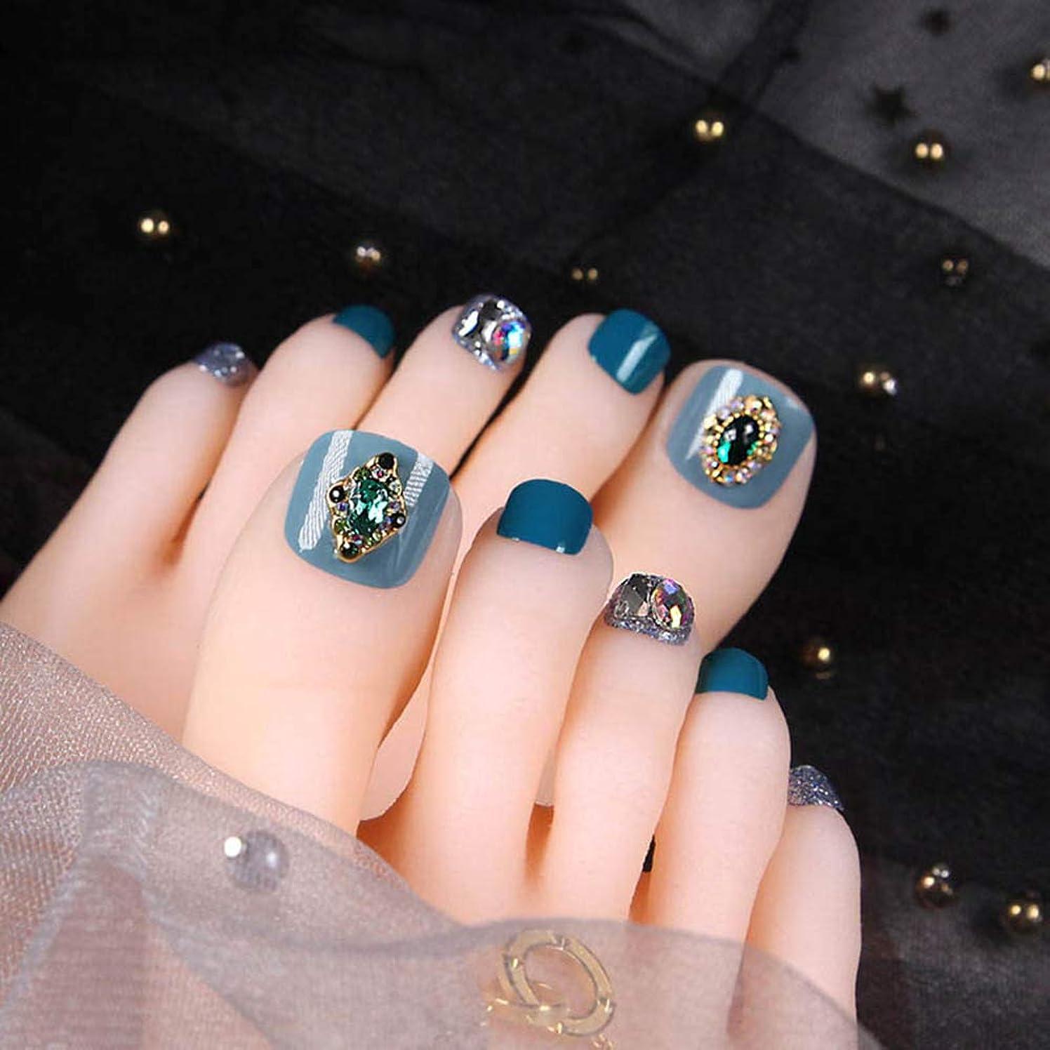 バーマド結婚シートXUTXZKA 24PCSライトブルースモールフレッシュフェイクトゥネイルショートフルカバーウェアラブルデタッチャブルグリッターダイヤモンド爪