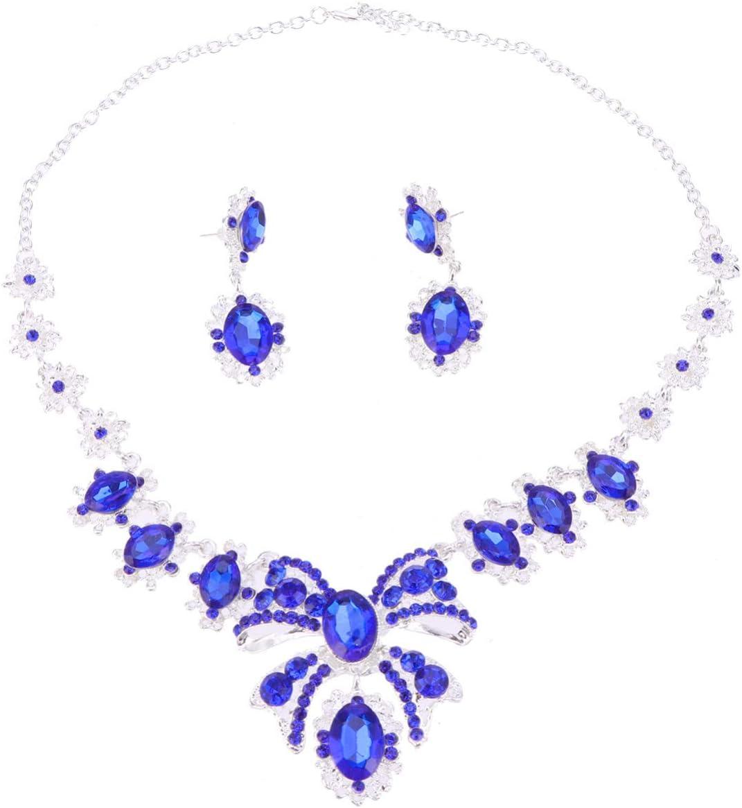 Happyyami Portland Mall 1 Set Rhinestone Necklace Eardrop Pendant Limited Special Price Brid Crystal