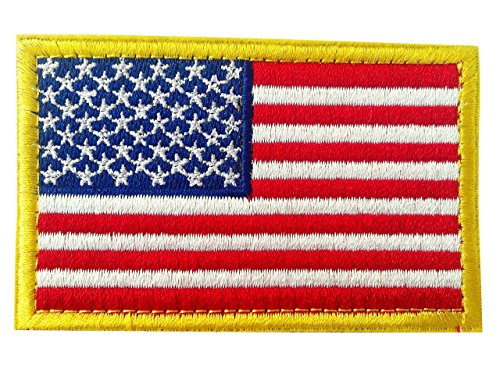 Military Specific Gold-Bordered USA Tactical American Flag Embroidered Morale Hook