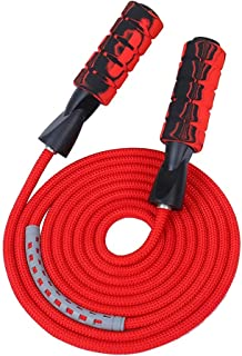 Professional Double Ball Bearing Jump Rope Weighted Cotton Rope Adjustable Length,for Cardio, Endurance Training, Fitness ...