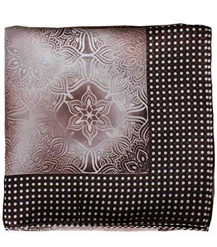 Deresina Headwear Deresina Headwear Frauenalltags Weiche Quadratisch Kopftücher (1mx1m) - (Kakaocreme geometrische gepunkteten Ende)