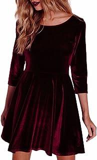 Homebaby Vestito Donna Invernale Velluto Casual Vintage Retro Abito da Ragazze Elegante Sexy Maniche Lunghe Tops Sottile M...