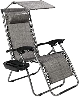 Bonnlo Zero Gravity Chair with Canopy Patio Sunshade Lounge Chair, Adjustable Folding Shade Reclining Chairs with Cup Holder and Headrest for Beach Garden (Grey)