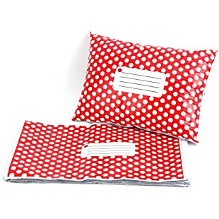 """50 Pcs 12"""" x 15"""" 305MM X 406MM Red Polka Dot Plastic Strong Self Seal Mailing Postal Postage Bags:Superclub"""