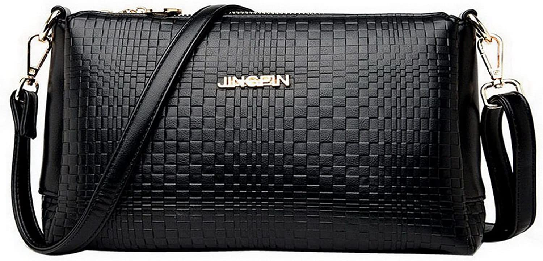 BalaMasa Womens Light Square Zipper Grid Handle Handbag