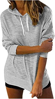 Forthery-Women Tunic Hoodies Long Sleeve Sweatshirts Pullover Blouse Tops