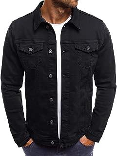 Mens Denim Jacket, Men's Solid Color Vintage Button Tops Coat with Pocket