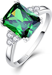 925 Sterling Silver Green Stone CZ Simulated Emerald Ring for Women