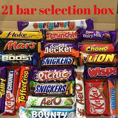 Chocolate 21 Bar Hamper Xmas Birthday Box Flake Chomp kitkat Double Decker Snickers twirlaero