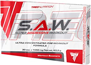 Trec Nutrition S A W Powder 30 Caps Ultra-Concentrated PRE Training Formula Muscle Strength Super ANABOLIC Workout Saw Power Stamina and Vascularity Estimated Price : £ 7,99