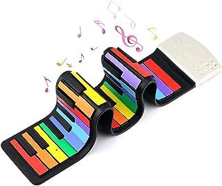 Rainbow Roll Up Piano, Uarzt 49 Keys Flexible Electronic Mus