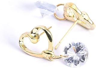 SKYLMW الفولاذ المقاوم للصدأ جولة مكعب زركونيا أقراط الأذن مسمار مجوهرات للفتاة النساء ، ذهبي/قلب الحب