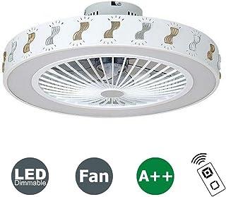 HKLY Ventilador de Techo Lámpara de Techo, Moderna LED Ventilador de Techo con Mando a Distancia Regulable Habitación de Niños Decoración Plafón de Techo lluminación, 40W, Ø56CM