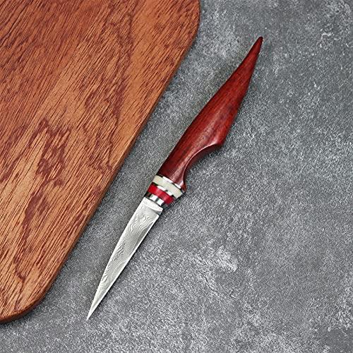 Cuchillo de chef profesional hecho a mano VG10 Damasco Acero Cocina multifunción de acero de 3 pulgadas Cuchillo de talla de 3 pulgadas