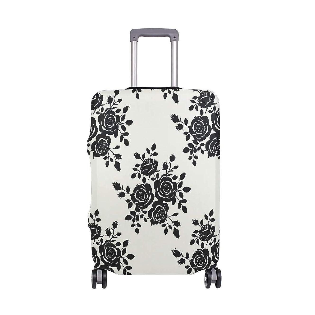 指令帝国黒いバラ スーツケースカバー 弾性素材 おしゃれ トラベルダストカバー 傷防止 防塵カバー 洗える 18-32インチの荷物にフィット