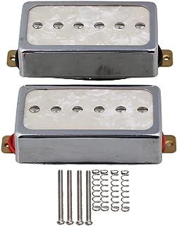 Yibuy Cream Color Pearl P90 Single Coil Bridge & Neck Pickups Set for Electric Guitar Parts