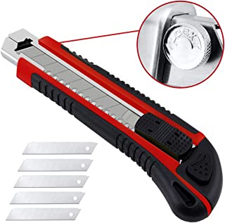 Utility Knife - Retractable Box Cutter Utility Knife for Cartons,Cardboard and Boxes, 5pcs Sharp Rust Proof Razor Snap Off Blades Set,Smooth Mechanism, Perfect for Office and Home Use