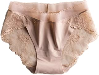 (4 Pairs) Sexy Lace Panties Women's Floral Silky No Visible Line Underwear Briefs