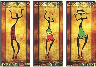 SAF 6MM MDF Modern Art Dancing Lady Digital Reprint SELF Installation Painting (Synthetic, 38 cm x 45 cm, Set of 3,) SANF...