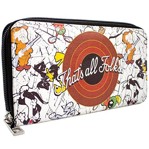 Looney Tunes That\'s All Folks! Bugs & Daffy Weiß Portemonnaie Geldbörse