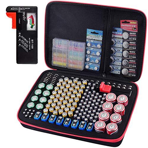 Batterie Aufbewahrungsbox - Batterien Aufbewahrung Organizer mit Batterietester Akkutester BT-618. hält 200+ Batterien für 9V Block batterien Akku AA, AAA, C, D, 1.5V