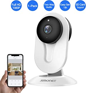 SMONET Home Security Camera, Security Camera Wireless with Two-Way Audio, Night Vision, Full HD 1080P 2.0 Mega-Pixel Indoor Surveillance Camera for Elder/Baby/Nanny/Pet Monitor (White)