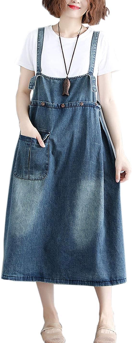 Flygo Women's Midi Length Long Denim Jeans Jumpers Overall Pinafore Dress Skirt