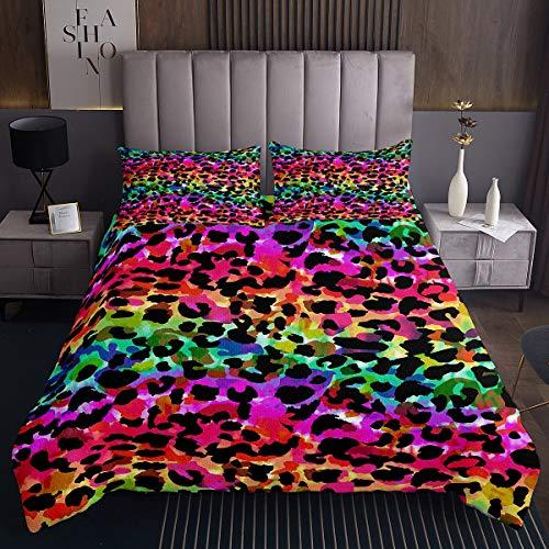 Feelyou Mädchen-Tagesdecke mit Leopardenmuster, bunt, Geparden-Druck, Decke für Kinder, Frauen, Wildtier-Stil, Quilt-Set, schicke Luxus-Bettdecke, Schlafzimmerkollektion, 2-teilig, Doppelbett-Größe