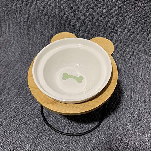 Cat bowl kat kom dubbele kom water kom ceramische schotel met een afdruiprek geneigd zijn om de cervicale bevel hond kom enkele bowl (groen botten) te beschermen + afdruiprek