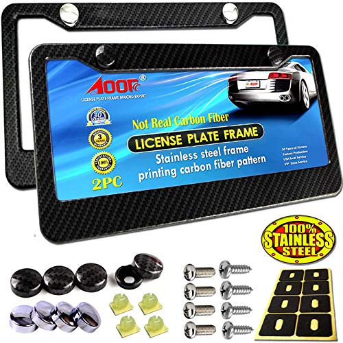 Aootf License Plate Frame Carbon Fiber - 2Pc Black Stainless Steel Plate Frames Printed Carbon Pattern with Stainless Steel Plate Screws and Black Carbon & Chrome Caps