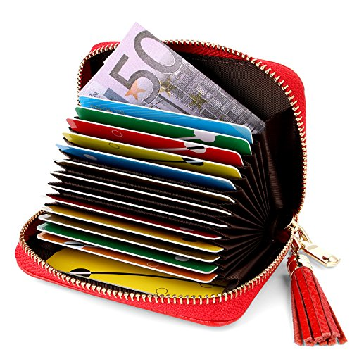 AirZyx Kreditkartenetui Damen Leder RFID Schutz Reißverschluss, Kartenetui Damen Leder RFID Schutz Reißverschluss Mit Geldklammer (Rot)