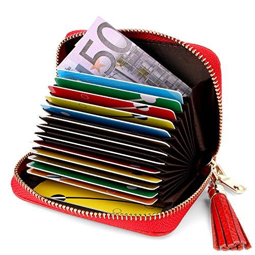 Tarjeteros Mujer Piel Tarjeteros para Tarjetas de Credito Tarjeteros Mujer Tarjetas Credito, Carteras de Mujer RFID Cuero (Rojo)