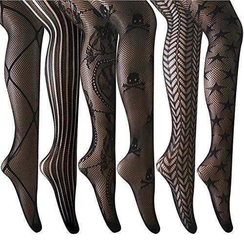 ANDIBEIQI Mujer Pantimedias Semi Medias, 6 pieza Negras Dibujos Florales Rayas Corazones Costura Pantimedias Semi Opacas Rejillas negro