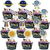 12 Pezzi Cupcake Wrapper e 12 pezzi Topper,Cupcake Wrapper Custodie ,Spazio Bambini Compleanno Festa Muffin Decorazione, Cup Cake Liners per Baby Shower, Decorazione Matrimonio