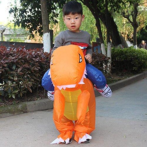 美亚爆款 儿童版2-6岁 恐龙充气服装 橘色 儿童玩具服装可以骑行抖音同款热门网红霸王龙坐骑 自动充气(需自配4节5号电池)由于快递原因,新疆、西藏不能发货,麻烦不要下单,谢谢