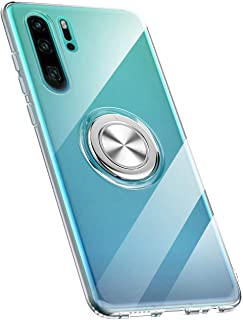 Skal kompatibel med Huawei P30/P30 Pro/P30 Lite, Ultra Tunn Clear Transparent TPU + PC Mobilskal med 360° vridbar ring, oc...