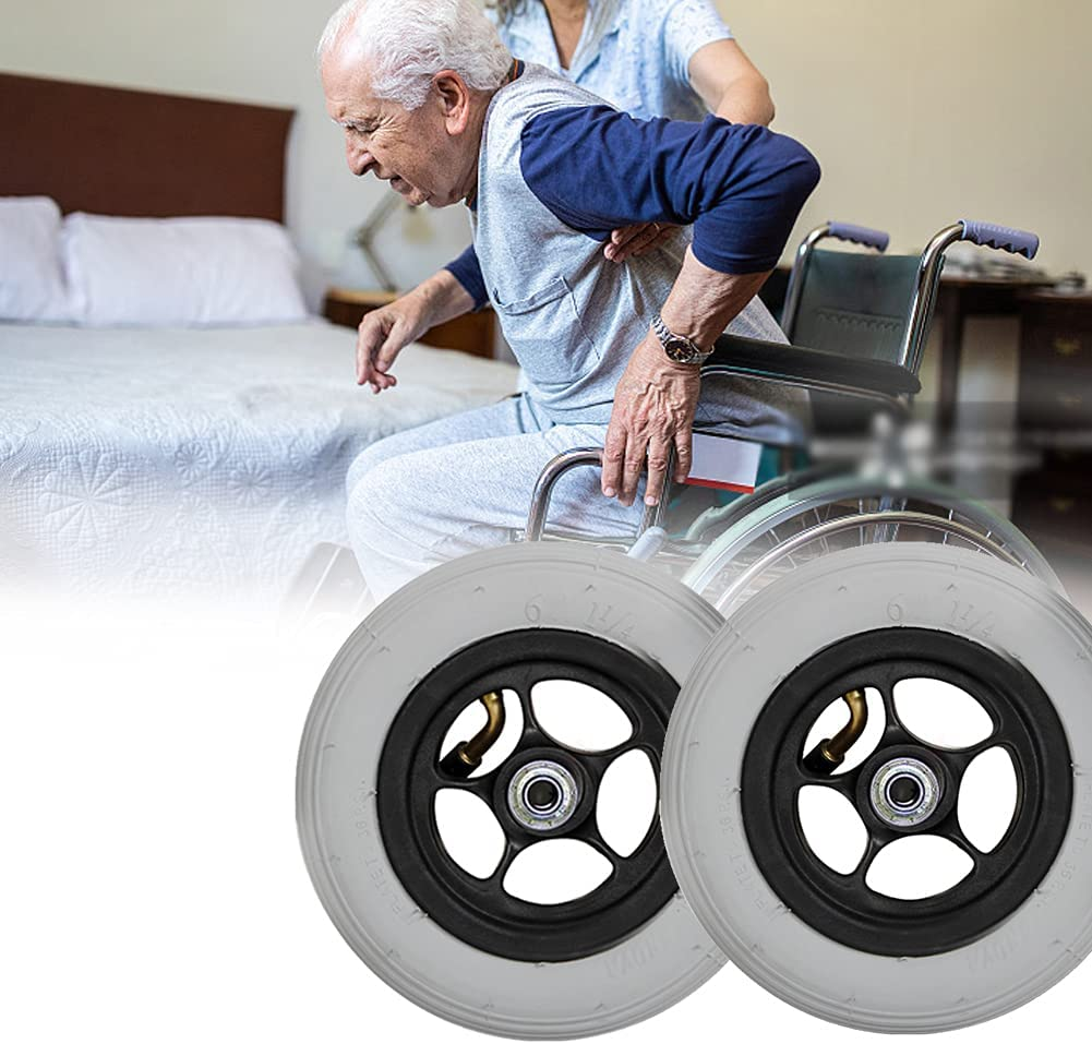XIAOYUE 6inch Inflatable Wheelchair Casters, Gray Front Wheels R