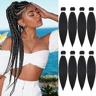 Pre stretched Braiding Hair Extensions Braid in 8 Packs Synthetic EZY Braids Hair for Braiding Hair Easy Braid Yaki Hair(2...