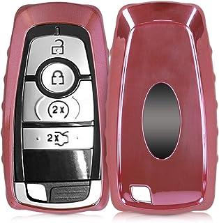 kwmobile Autoschlüssel Hülle kompatibel mit Ford 3 5 Tasten Autoschlüssel Keyless Go   TPU Schutzhülle Schlüsselhülle Cover in Hochglanz Rosegold