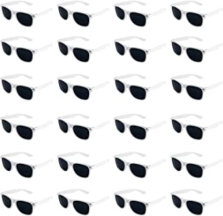 Super Z Outlet Plastic Vintage Retro Style Sunglasses Classic Shades Eyewear Party Prop Favors (24 Pairs) (White)
