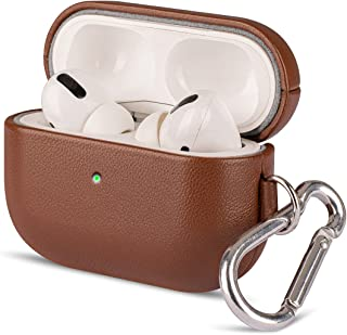 AirPods Pro Leather Case with Clip, Lopie [Handmade Series] Fully-Wrapped Leather AirPods Pro Case Cover , Scratch Resistant Microfiber Cushion , Original Design Case for Men/Women - Earthy Brown