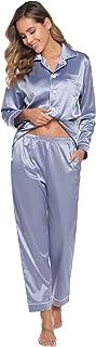 Abollria - Pijama para mujer, satén, 2 piezas, ropa de noche clásica