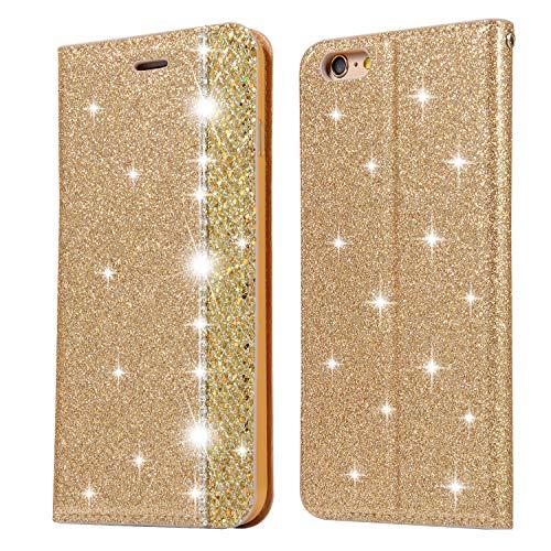 Ostop Paillettes Coque pour iPhone 6S Plus/iPhone 6 Plus,Or Étui Portefeuille Cuir Diamant Bling avec Fente Carte Fermeture Magnétique,Housse Livre à Rabat Antichoc pour iPhone 6 Plus/6S Plus