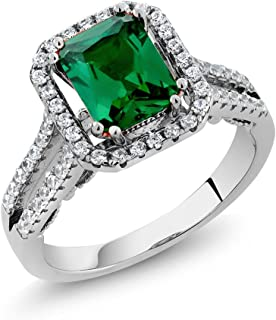 925 Sterling Silver Green Simulated Emerald Women's Ring (2.78 Ct Emerald Cut (Available 5,6,7,8,9)