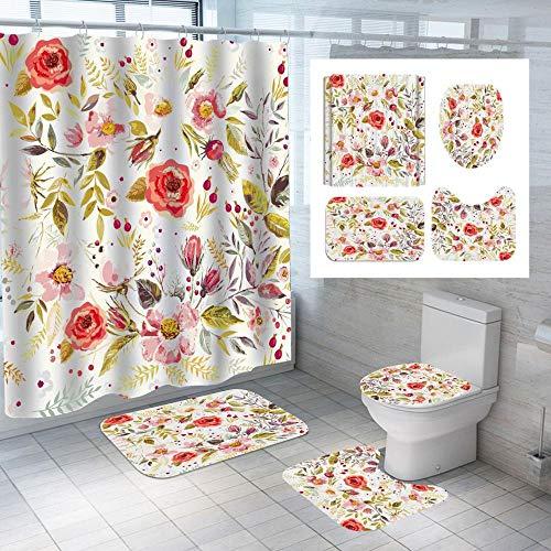 chuanglanja schimmelbestendig douchegordijn waterdicht douchegordijn van polyester vloermat toilet vierdelige set 180 * 180 cm bloemendruk
