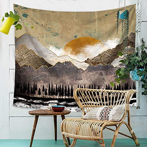 OTIAN Tapiz Sofa Sunset Mountain Indigo Tapestry Nature Art Tejido De Pared Hippie Tapiz Psicodélico Colgante De Pared Árbol Paisaje Alfombra De Pared Tela 8 Colores 230 * 150CM