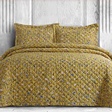 AZORES HOME ORGQUI300 300 Thread Count Organic Cotton Oversized Quilt Set, King, Yellow