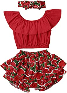 Fashion Toddler Kids Baby Girls Off Shoulder Crop Tops+Ruffle Bloomer Shorts Outfits Summer Clothes Set