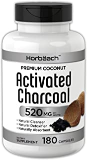 Horbaach Activated Charcoal 180 Capsules | from Coconut Shells | Non-GMO and Gluten Free Pills | Helps Bloating and Digestion