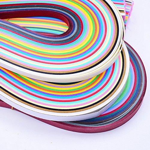 Quilling-Papierstreifen,Papier Quilling-Kits,Papier Quilling Sets 80 Streifen in 36 Farben, 54 cm lang, mehrfarbig, 10 mm